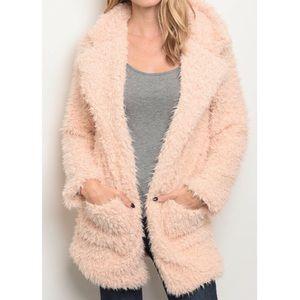 Blush Shaggy Fur Coat